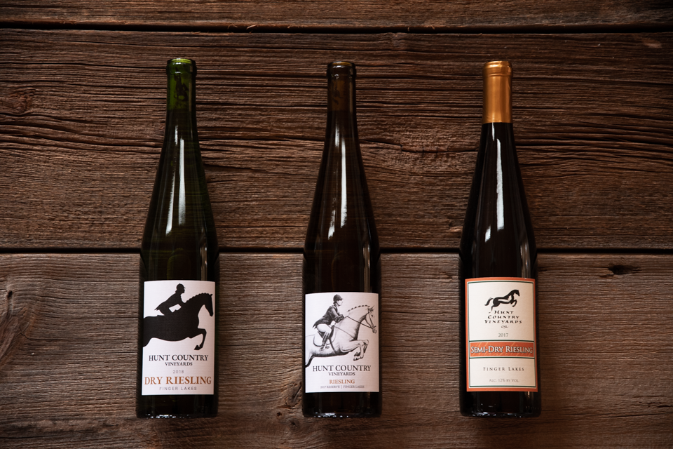 Image of our three current Rieslings.