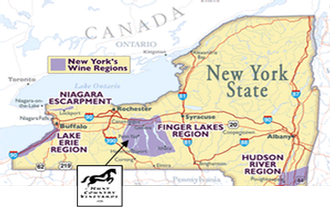 Map - Upstate NY and Hunt Country Vineyards