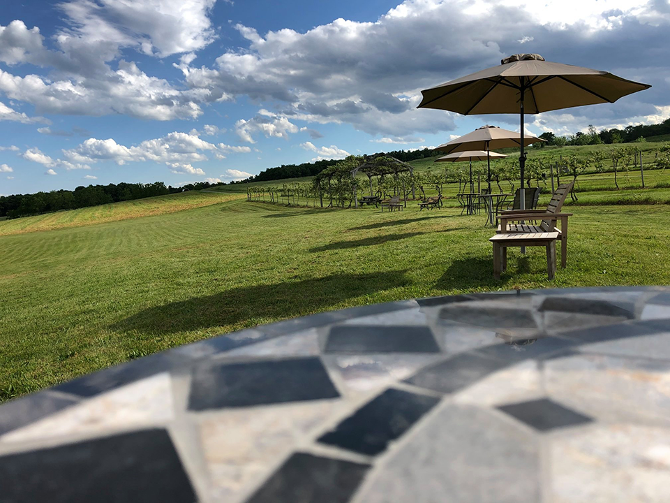 Image of outdoor seating area at vineyard.
