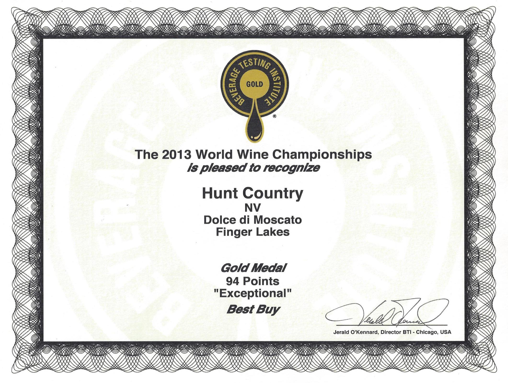 Hunt Country Vineyards - Wines - Dolce di Moscato