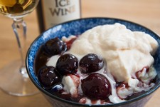 Rice Pudding with Tart Cherry Sauce and Caramel Whipped Cream